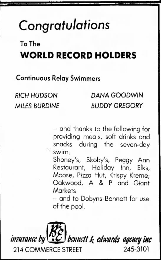 1972 World Record Relay -