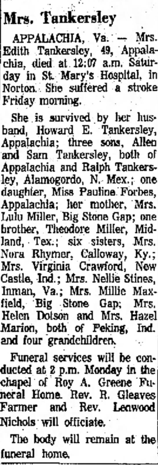 - the of D. Mrs. Mrs. Tankersley APPALACHIA,...