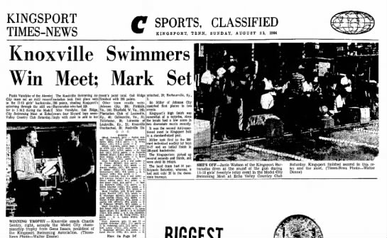 1964 knoxville wins Model City Swimming Meet -