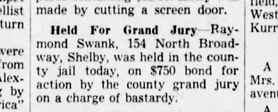 Raymond Swank  29 Jul 1946  News Journal (Mansfield OH) -
