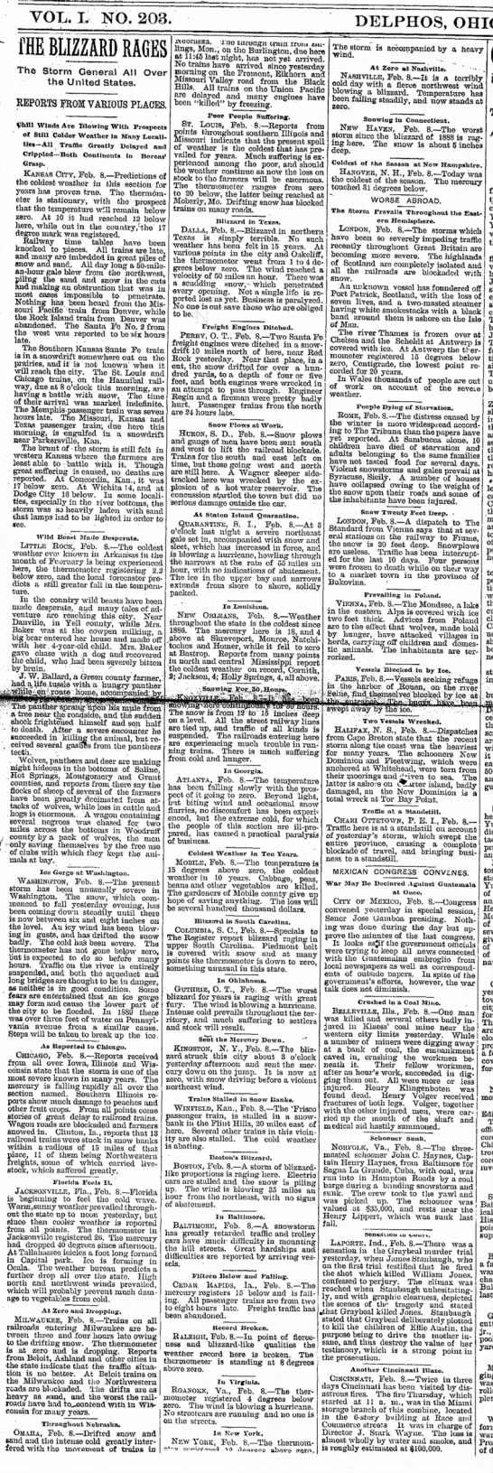 1895 Blizzard US and abroad articles and reports. - Tom Malmay - VOL. I. NO. 203. f HE BLIZZARD RAGES The Storm...