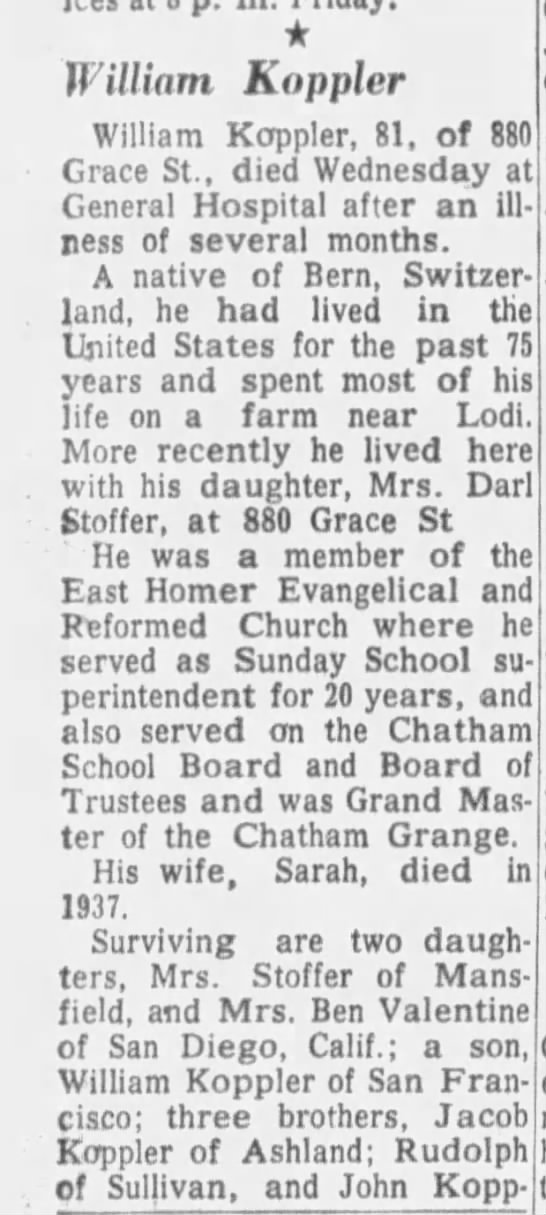 William Koppler obituary  Father to Evelyn G  Valentine, San