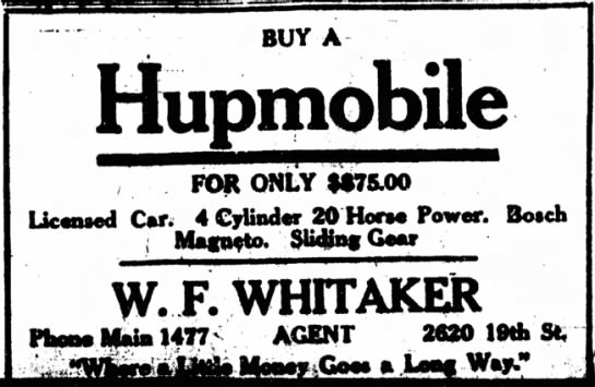 1910-06-04 WHITAKER W F - HUPMOBILE - BUY A FOR ONLY 1*75.00 Licensed Car; 4 Cylinder...