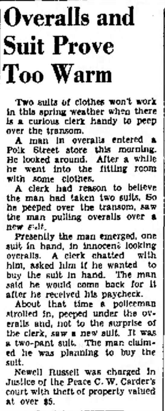 Amarillo Globe 28 Apr 1938 - be 01 Overalls and Suit Prove Too Warm Two...