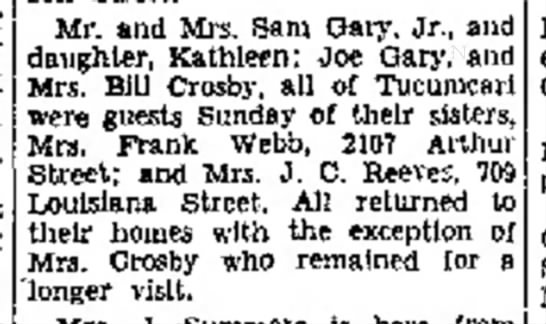Amarillo Globe-Times 25 Apr 1939 - Mr. and Mrs. Sam Gary. Jr., daughter, Kathleen;...