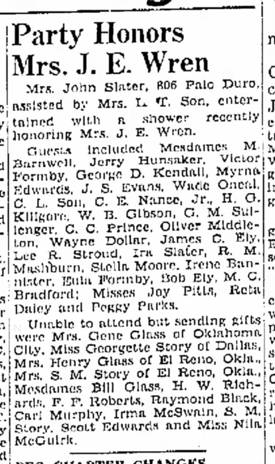 March 3, 1947 Amarillo Globe. Baby shower, I was the baby, born May 8, 1947 -