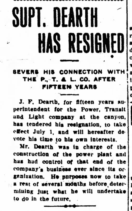 J F Dearth resigns -