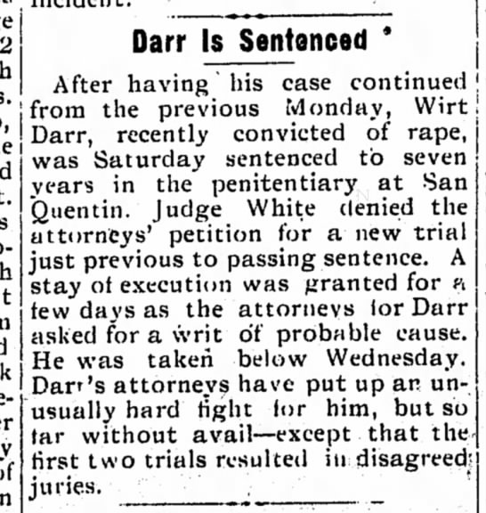 Darr 7 July 1905p - Darr Is Sentenced * Saturday sentenced to seven...