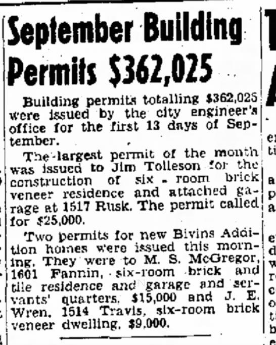 Sept 15, 1947, building permit. Amarillo Globe. -
