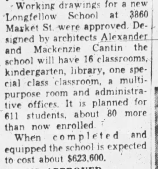 Plans for new Longfellow School - Oct 17, 1957 -