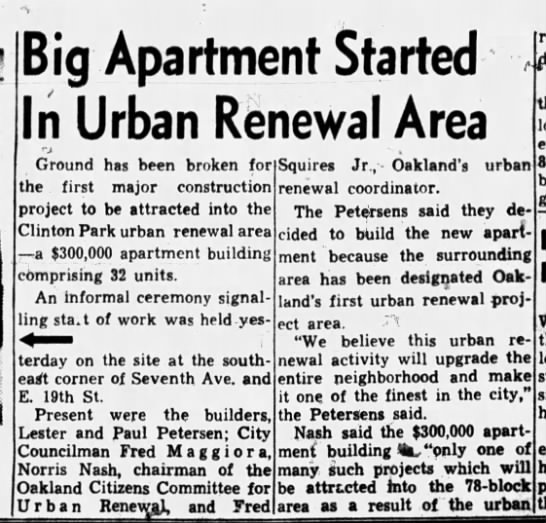 Big  Apartment Started  - Oakland Tribune May 30 1956 -