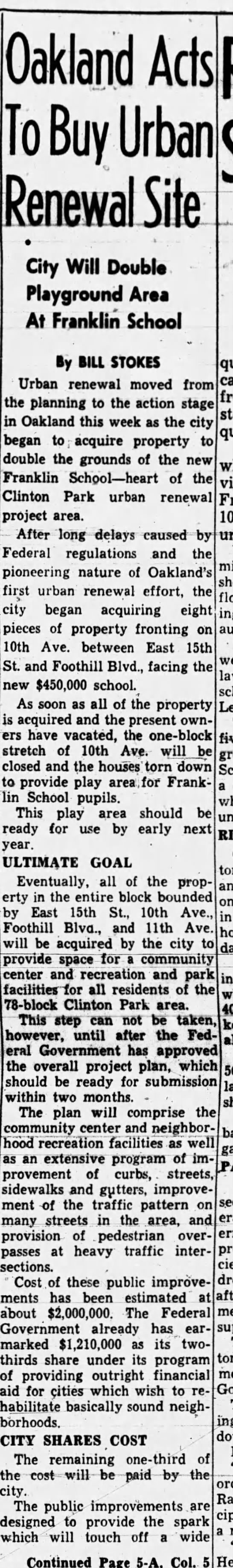 Oakland Acts to Buy Urban Renewal Site Pt 1 - Oakland Tribune September 2, 1956 -