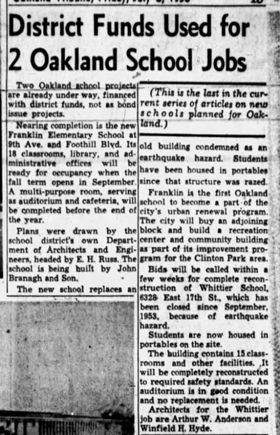 Jul 6 1956-District Funds Used for 2 Oakland School Jobs -