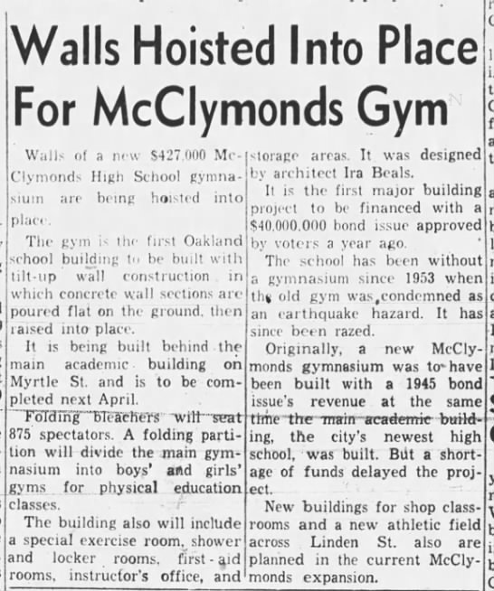New Gym - McClymonds -