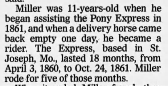 Bronco Charlie Miller began riding for the pony express at age 11 -