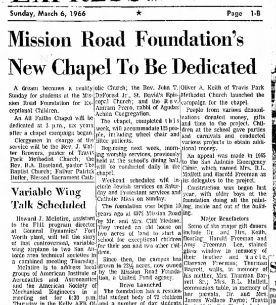 Mission Road Foundation - BA Roseland 3-6-1966 - Sunday, March 6, 1966 Page 1-B Mission Road...