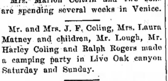 JF Coling and fam and Harley Coling camping 1919 -