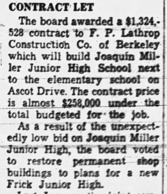 Contract Awarded for Montera - Nov 20,1957 -