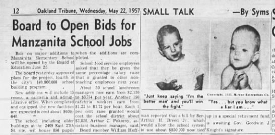 Board to Open Bids for Manzanita Schoo - May 22, 1957 -