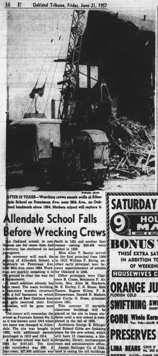 Allendale School demolished. Fruitvale School No. 3 - 1904-1913, Allendale 1913-1957 -