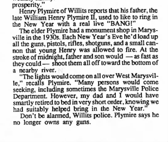 "Hank-New Year's traditions - prosperity."" Henry Plymire of Willits reports..."