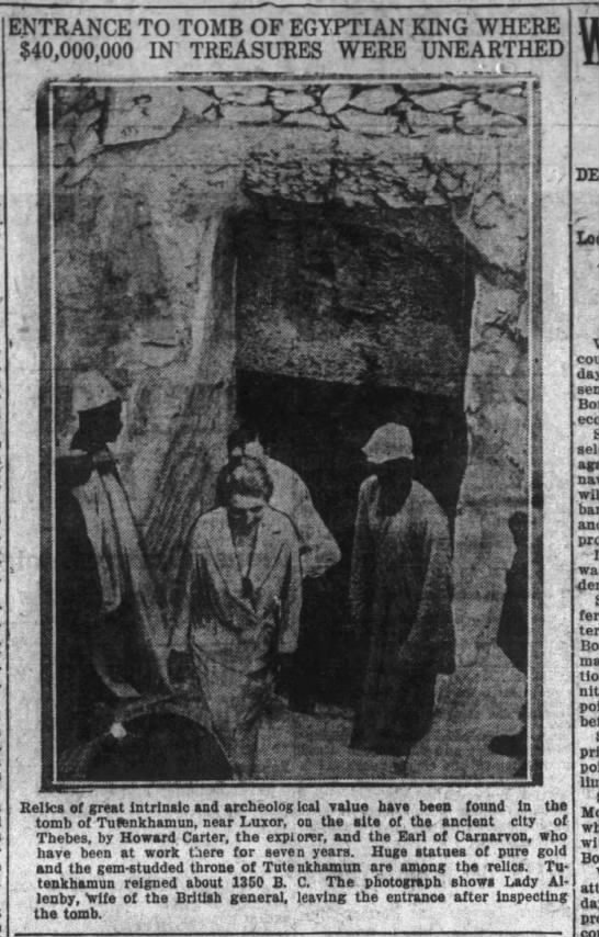 Entrance to Tut's tomb, 1922 -