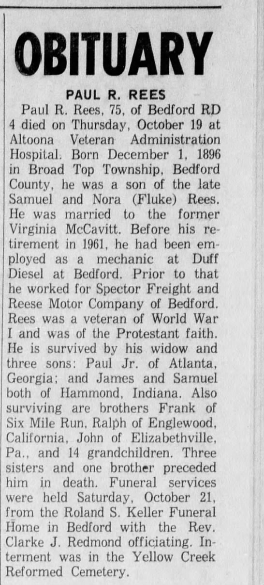 Paul R Rees - Obituary 26 OCT 1972 Bedford County Press and Everett Press (Everett Pennsylvania) -