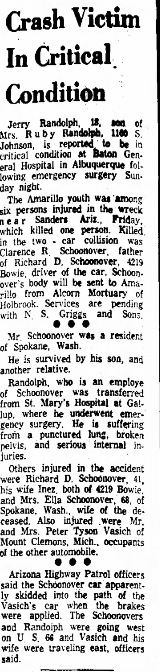 Article about the Holbrook, AZ car wreck that claimed life of Clarence Roy Schoonover. -
