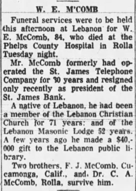 W E McComb obituary -