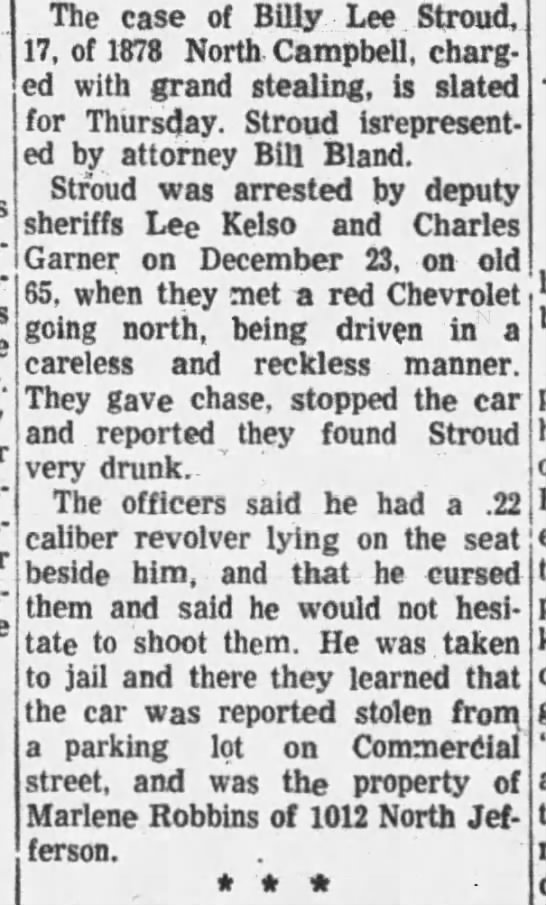 Billy Stroud 9/08/1957 - The case of Billy Lee Stroud, 17, of 1878 North...