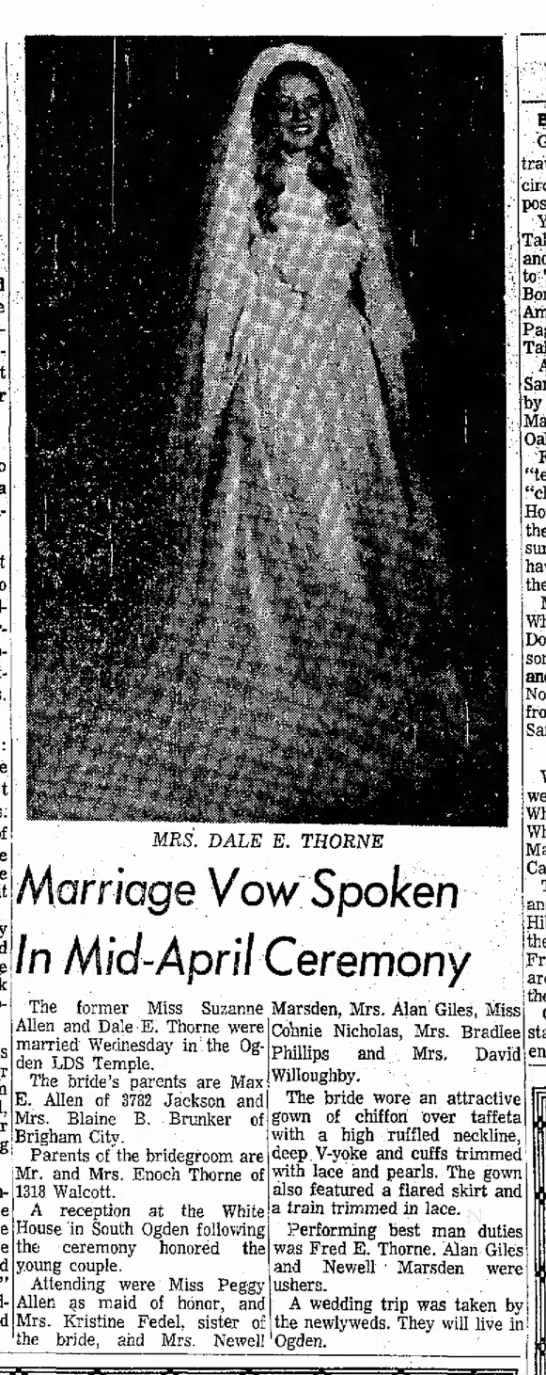 Dale Thorne Marriage 1977 -
