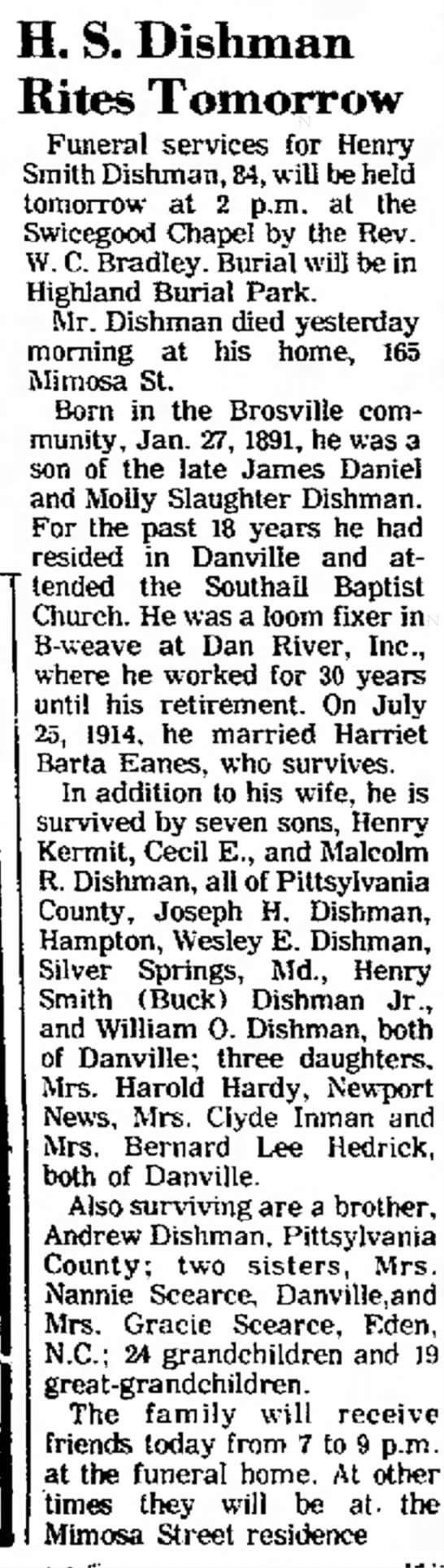 Henry Smith Dishman, brother of Andrew Dishman -