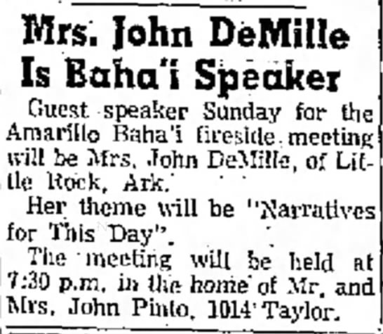 Baha'i meeting with talk by Mrs John DeMille -