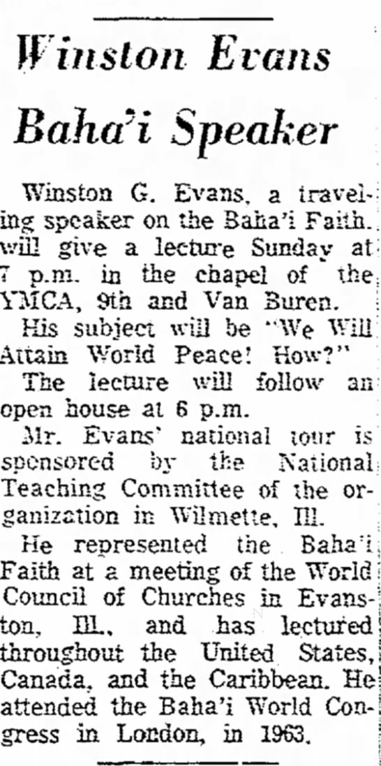 Baha'i meeting with talk by Winston G Evans -