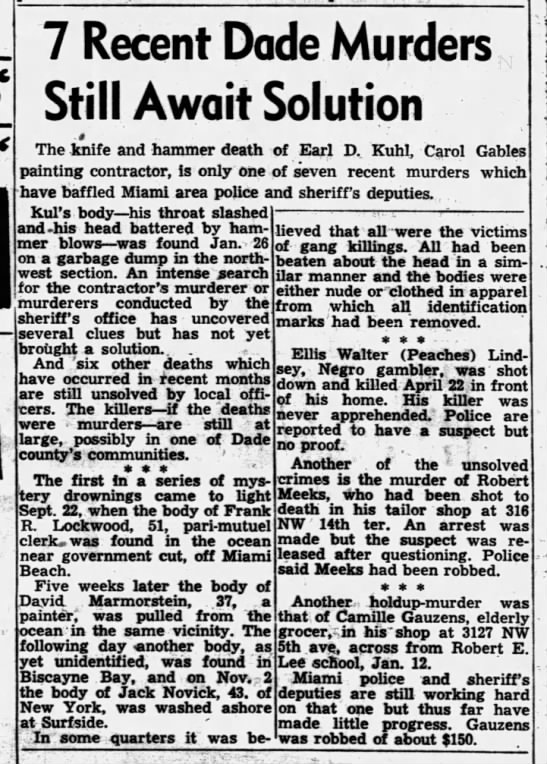 Miami News 12 Feb 1949 Sun  unsolved murders -