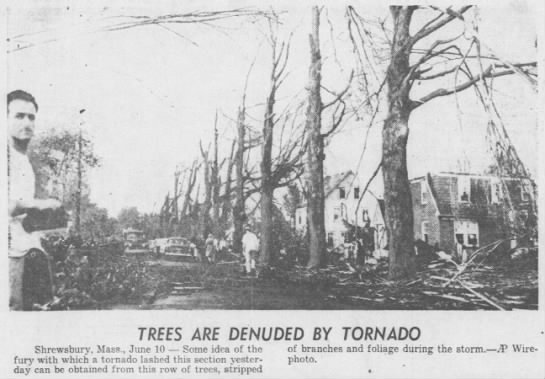 Shrewsbury, MA Tornado Damage 1953 -