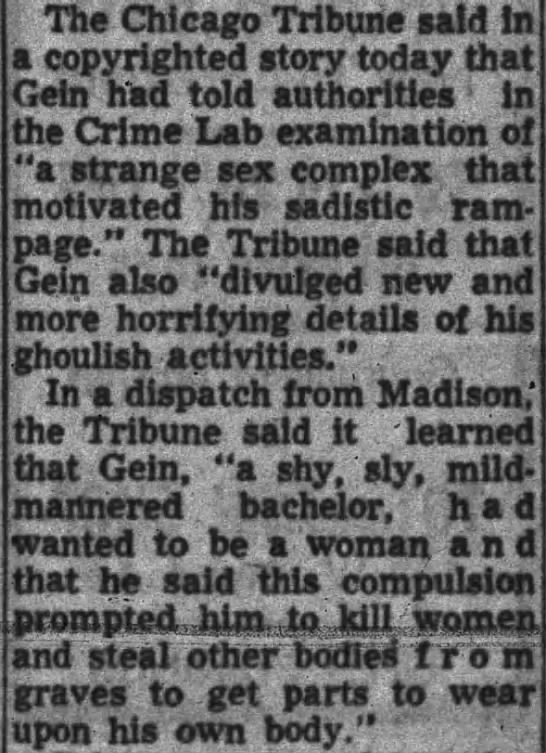 Ed Gein - Wanted to be a woman -