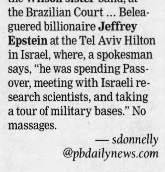 Jeffrey Epstein - Military Base Tel Aviv Hilton 2008 -