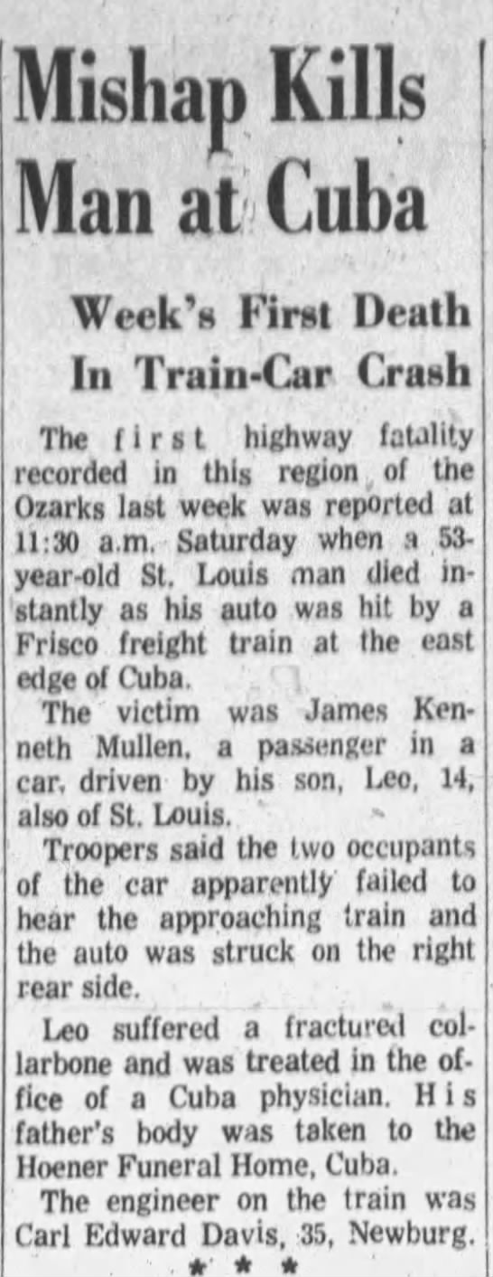 Accident - James Kenneth Mullen killed -