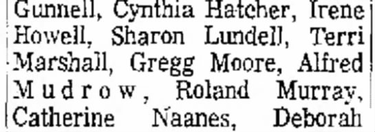 Gregg Moore on Honor Roll at Ben Lomond - Gunnell, Cynthia Hatcher, Irene Howell, Sharon...