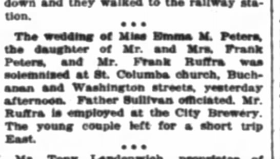 RUFFRA PETERS wedding 1897 Feb  - down and they walked to th railway sta tion....