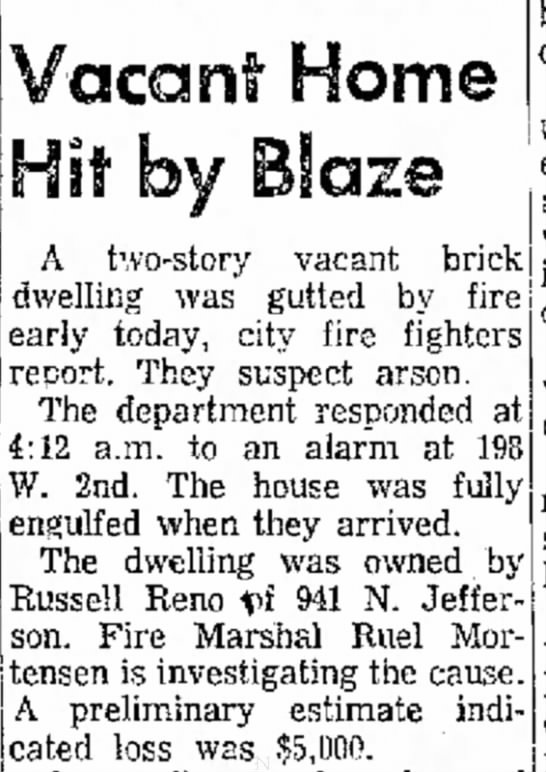 Victor Reno house, fire in 1974 -
