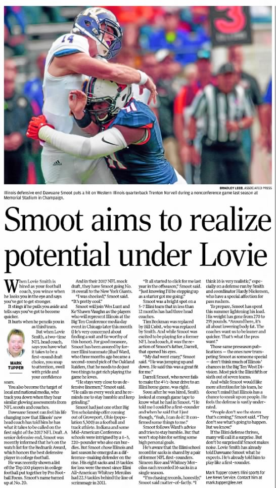 Smoot aims to realize potential under Lovie -
