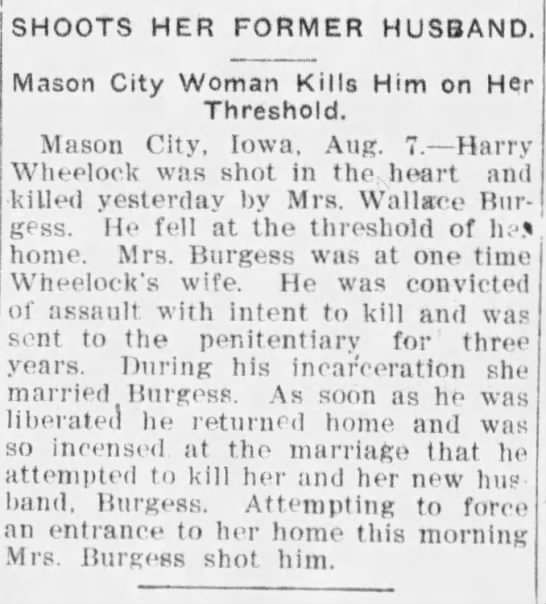 Harry Wheelock Shot By His Ex Wife 6 Aug 1900 -