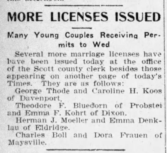 1904 Christine Koos George Thode wed license -