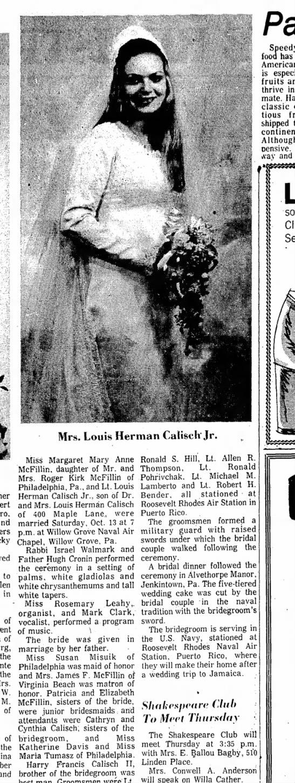 Danville Register, 4 Nov 1973, Margaret Mary McFillin and LT Chip Calisch -