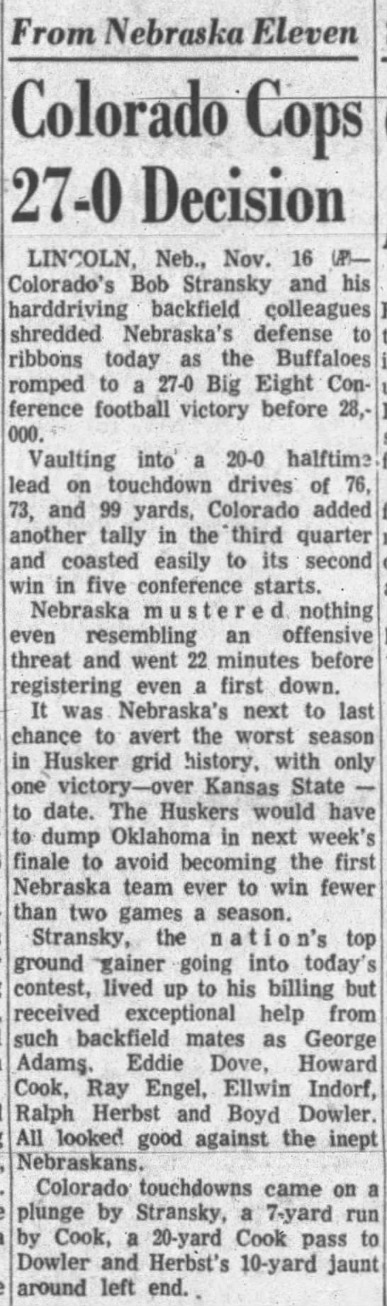 1957 Nebraska-Colorado football AP -