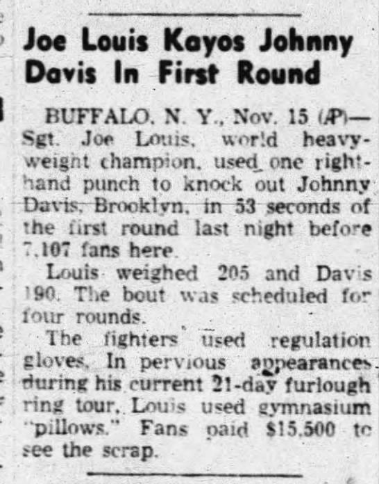 Joe Louis Kayos Johnny Davis In First Round -