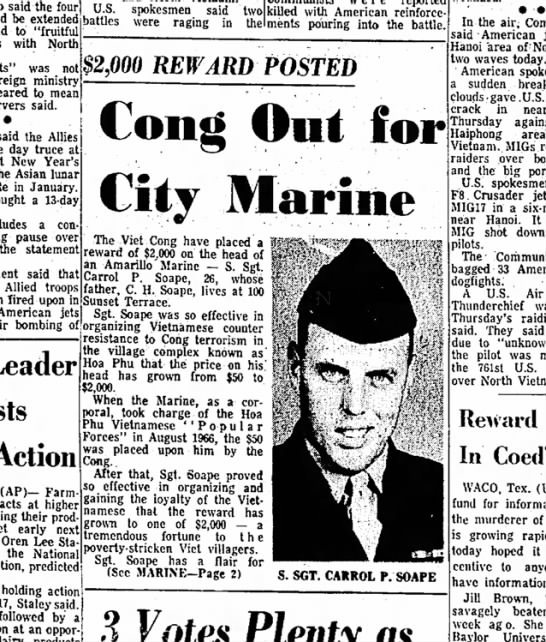 "From Amarillo Globe-Times, Dec 15 1967 - the four days extended battles if ""fruitful..."