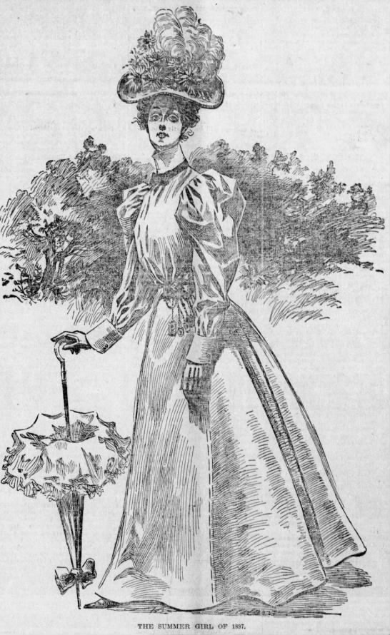 The Summer Girl of 1897, with a chatelaine at her waist -